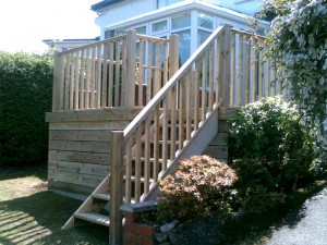 New Conservatory, external wooden decking and stairs, building, decking and Joinery work by HMC Joinery & Building, Belfast, N. Ireland